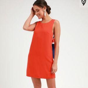 Lulus Joyful Red Orange Multi Stripe Tie-Back Mini